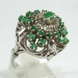 Smaragd- Ring, 925er Silber, Gew.7,34g, 25 rd., facettierte, kl.Smaragde in filigran