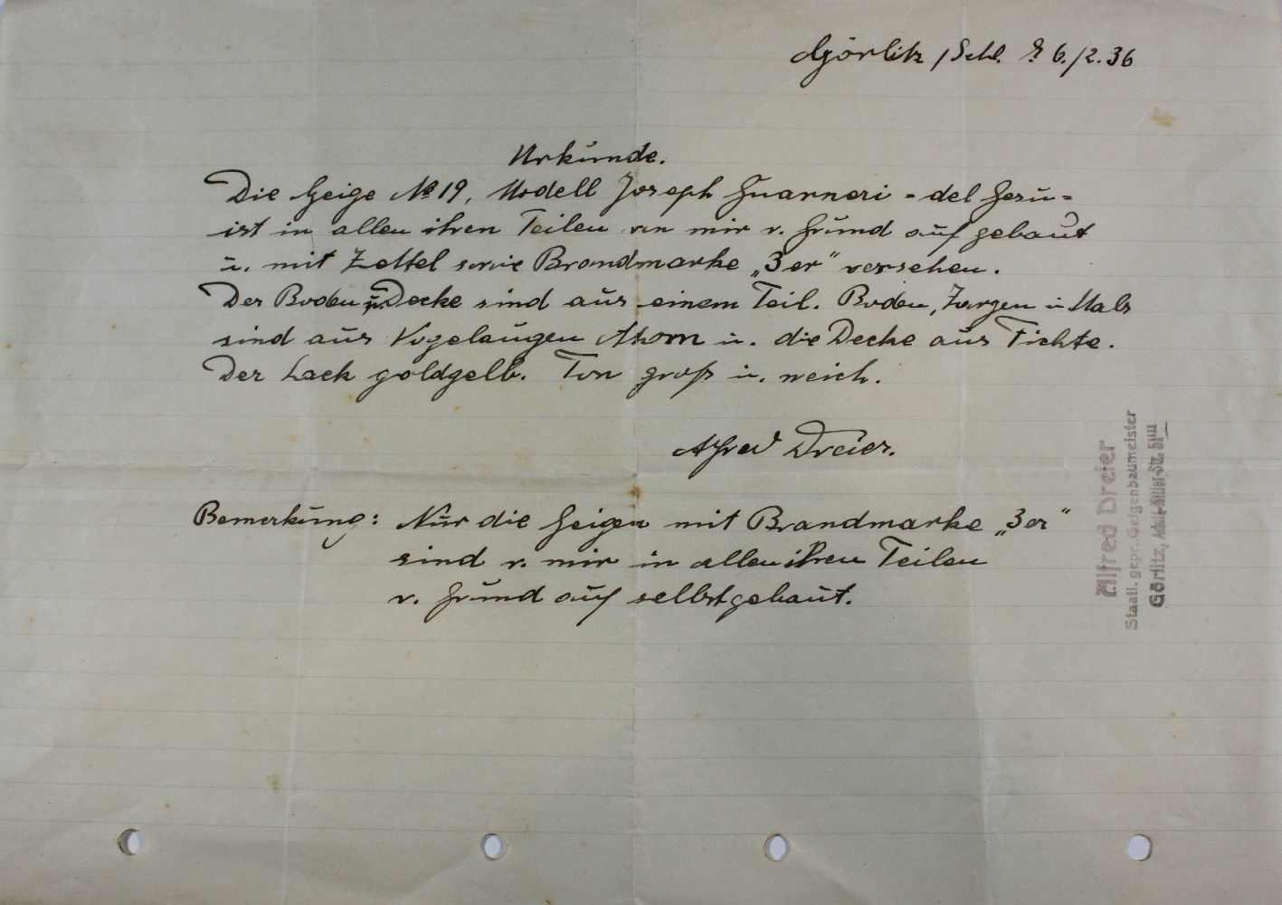 Lot 17 - Geige, Modell Joseph Guarnori - del Jesu, Geigenbauer: Alfred Dreter, Urkunde von 6.2.36.