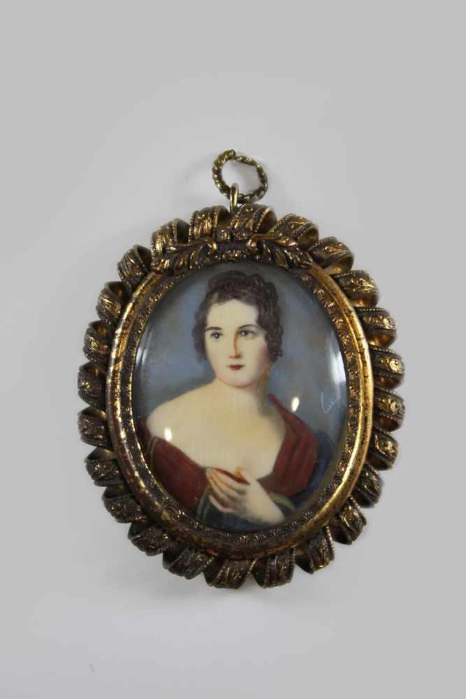 Lot 29 - Miniatur Paulina Borghese (Bonaparte), auf Bein, Herzogin von Guastalla, Schwester von Napoleon