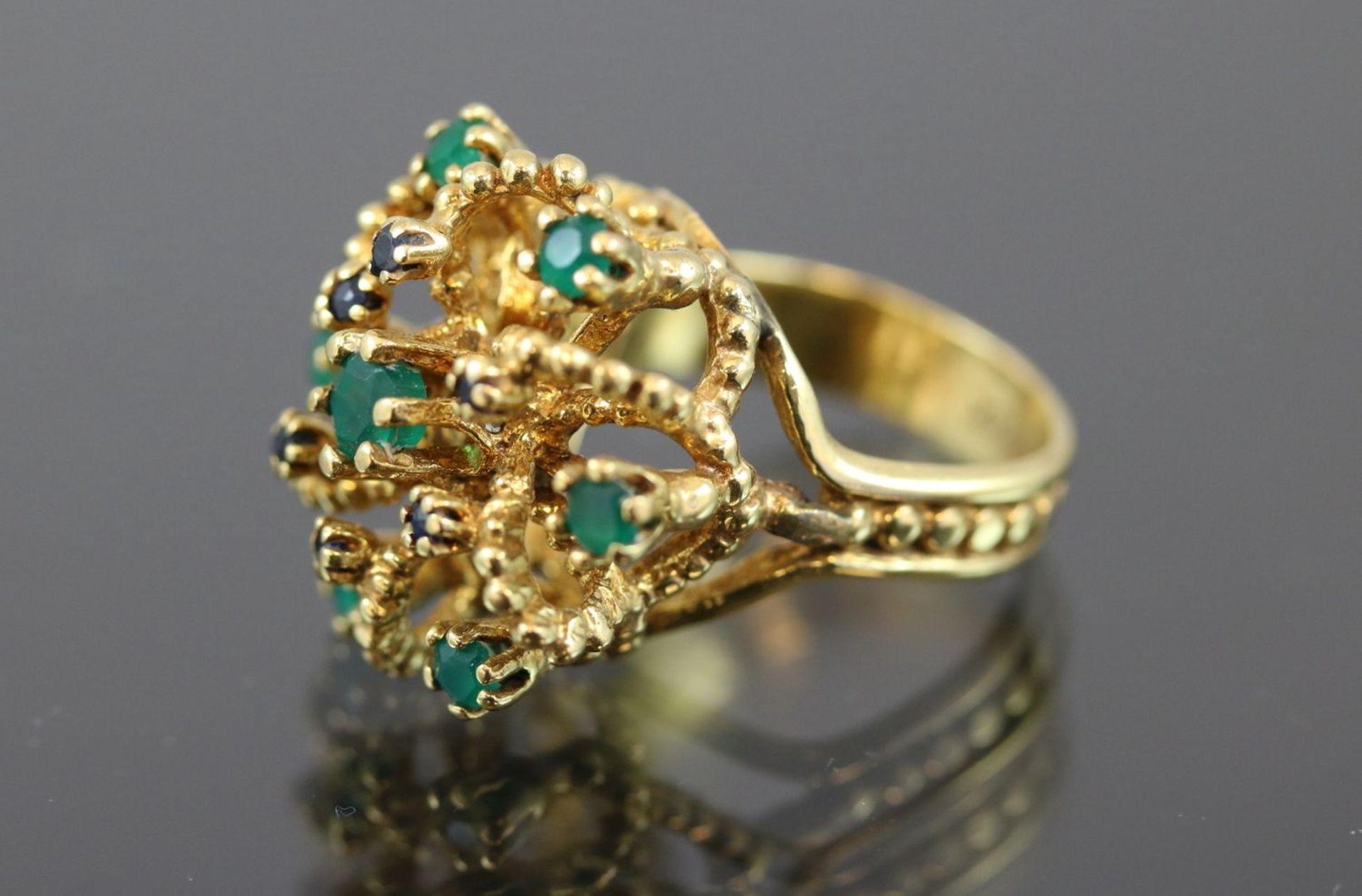 Los 30 - Smaragd-Saphir-Ring, 585 Gold8,2 Gramm Ringgröße: 47