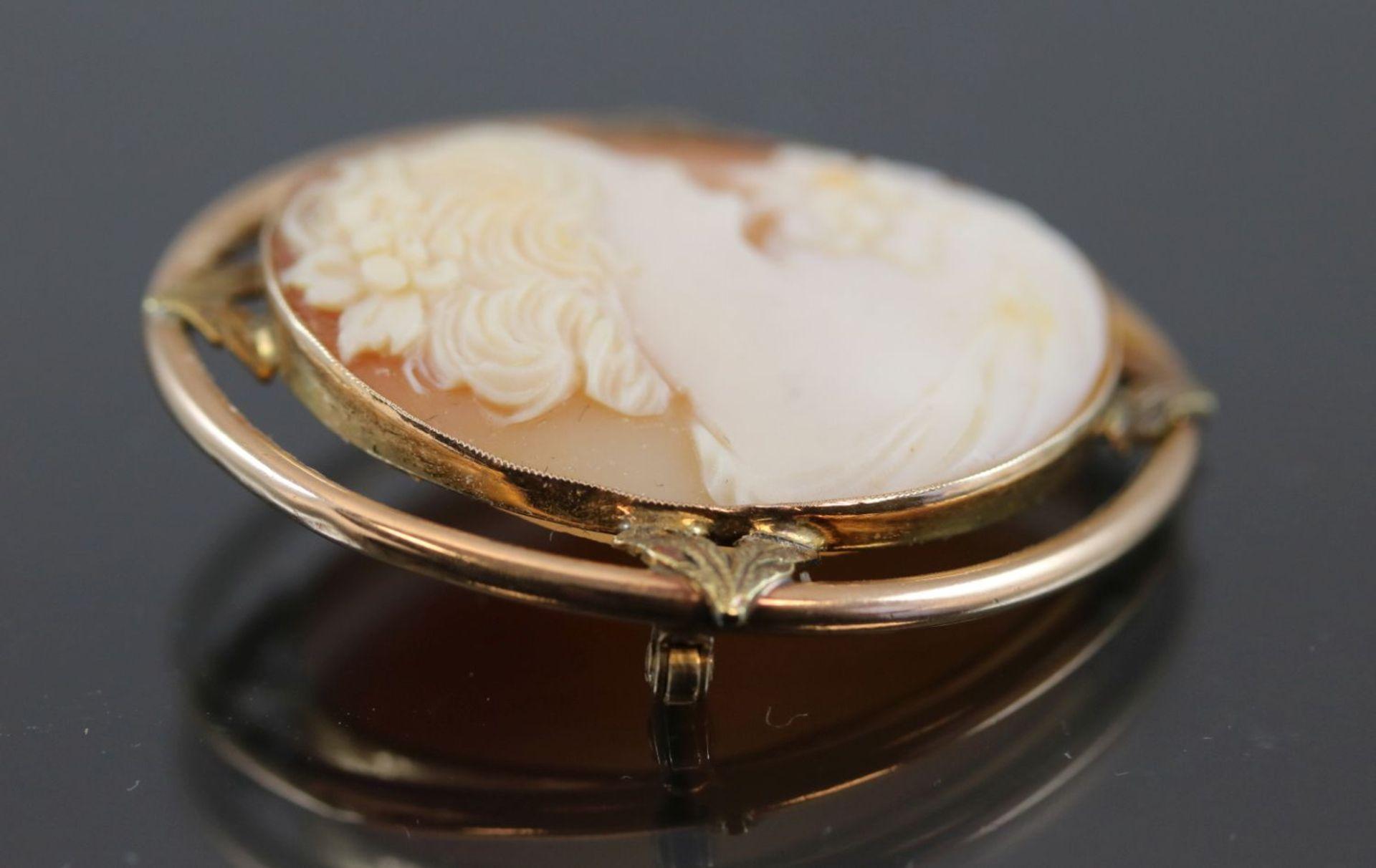 Gemme-Brosche, 375 Gold5,8 Gramm Breite: 3,1 cm, Länge: 3,6 cm - Bild 4 aus 7