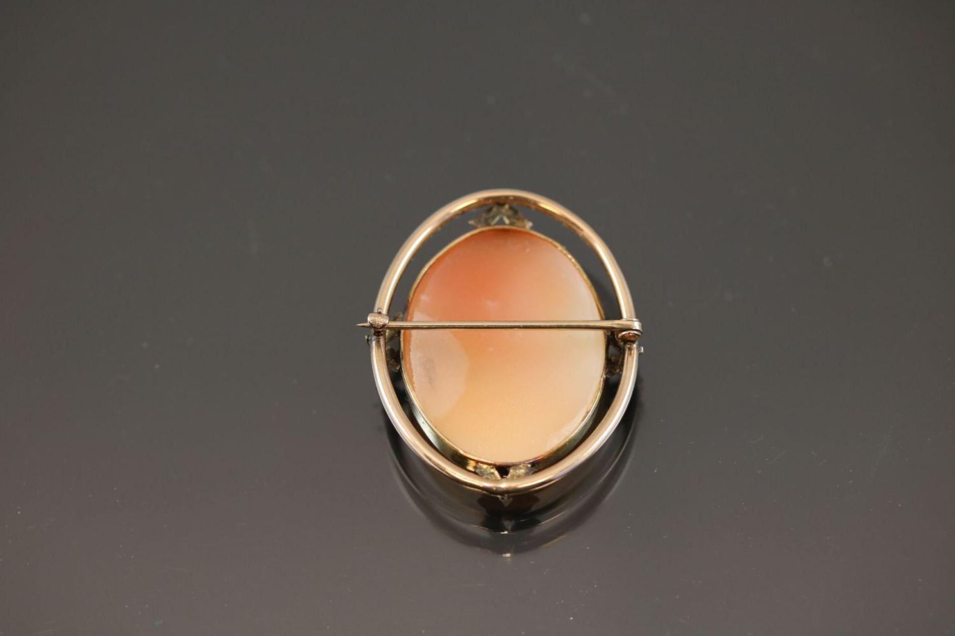 Gemme-Brosche, 375 Gold5,8 Gramm Breite: 3,1 cm, Länge: 3,6 cm - Bild 7 aus 7