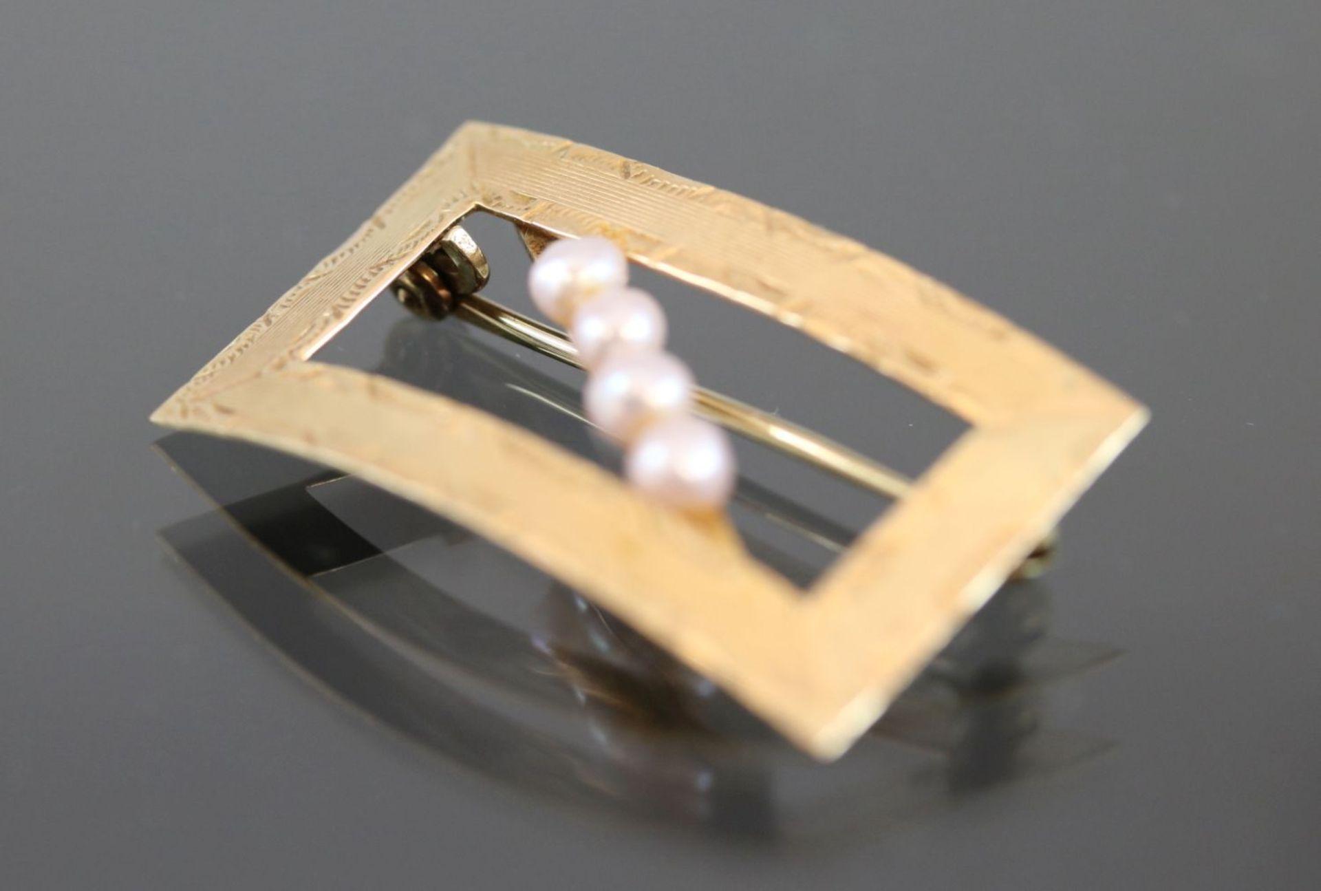 Perlen-Brosche, 585 Gold4,5 Gramm - Bild 3 aus 7