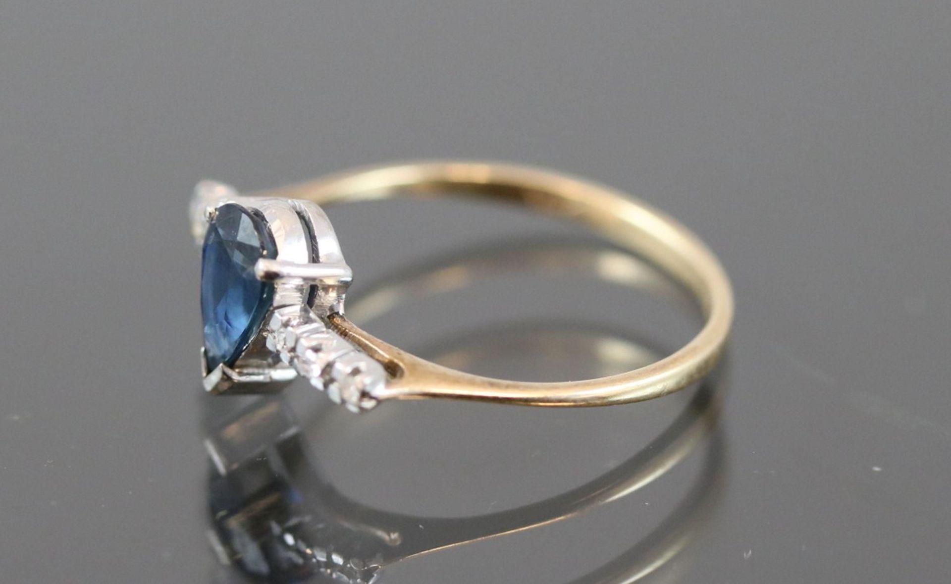 Los 37 - Saphir-Diamant-Ring, 585 Gold1,5 Gramm 6 Diamanten, 0,06 ct., w/p1. Ringgröße: 53Schätzpreis: 600,-