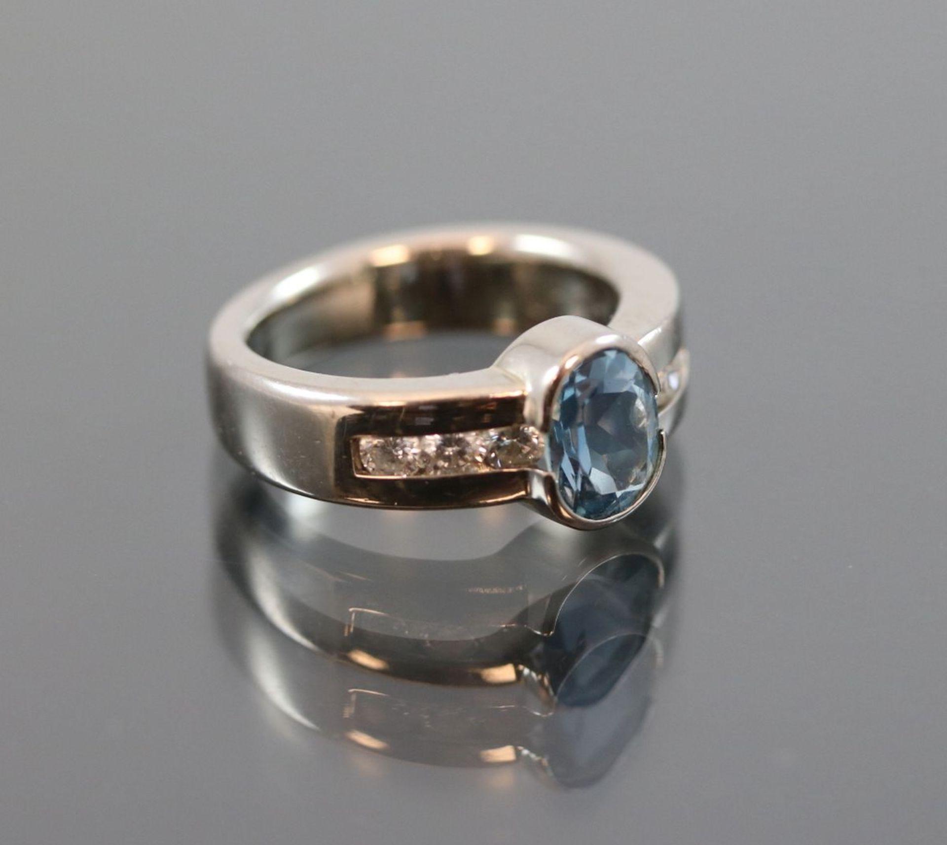 Aquamarin-Brillant-Ring, 585 Weißgold8,50 Gramm 6 Brillanten, 0,42 ct., tw/vsi. Ringgröße: - Bild 3 aus 3