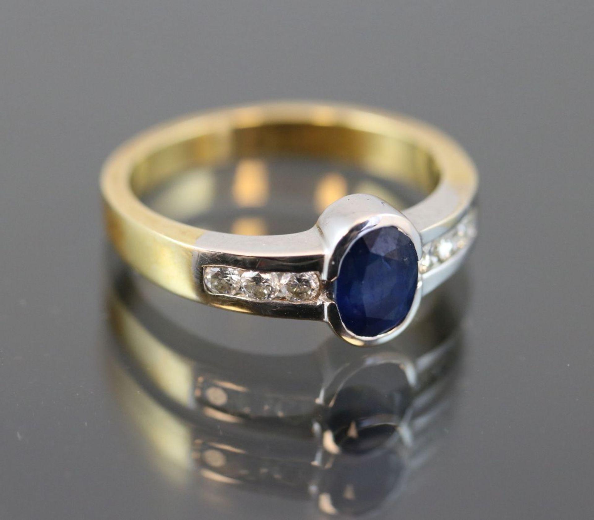 Saphir-Brillant-Ring, 750 Gold5,9 Gramm 6 Brillanten, 0,50 ct., tw/vsi. Ringgröße: 57Schätzpreis: