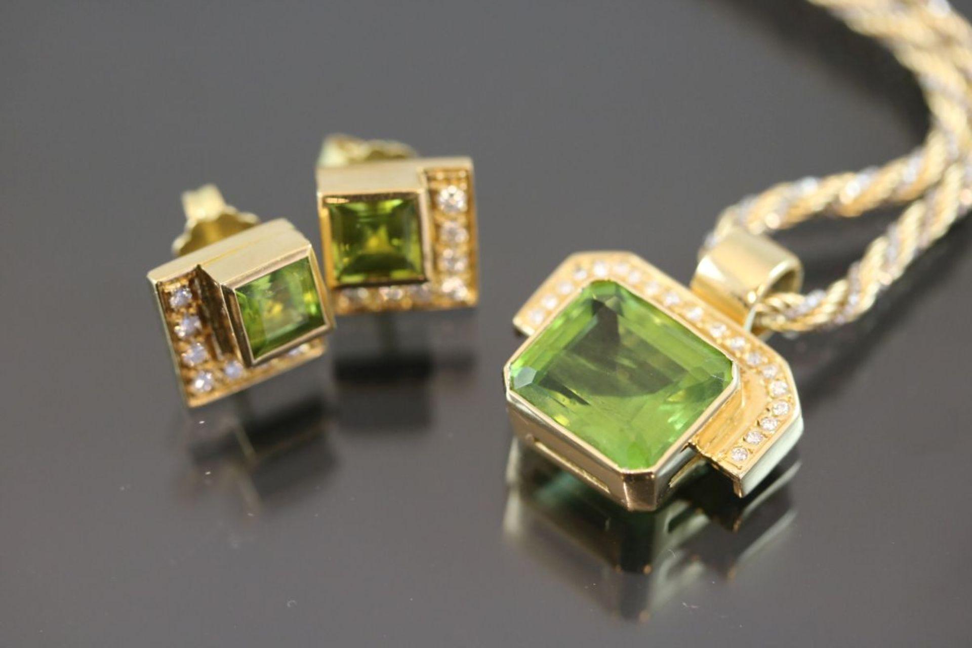 Peridot-Brillant-Set, 750 Gelbgold28,7 Gramm 32 Brillanten, 0,46 ct., tw/vvsi. Schätzpreis: 4000,- - Bild 3 aus 3