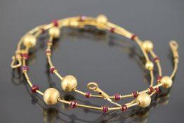 Rubin-Set, 585 Gold17,9 Gramm Set bestehend aus Armband L: 20 cm und Halskette L: 47 cm.Schätzpreis: