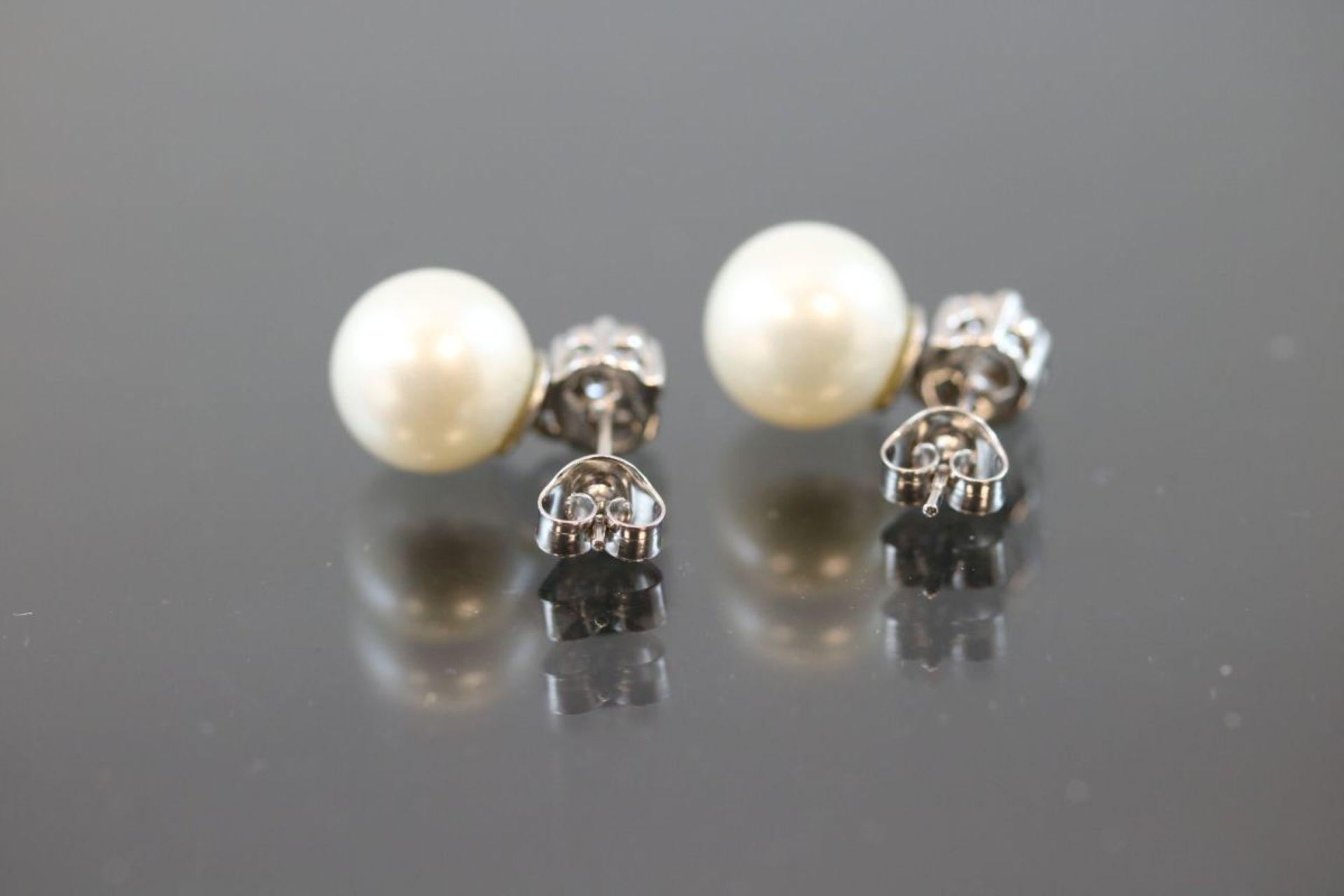 Perl-Brillant-Ohrstecker, 750 Weißgold5 Gramm 14 Brillanten, ca.0,60 ct., tw/vsi. Schätzpreis: - Bild 3 aus 3