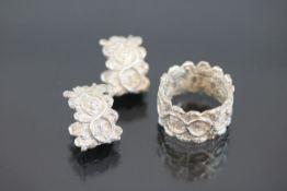 Brillant-Silber-Set, 925 Silber17,2 Gramm 2 Brillanten, 0,20 ct., Set bestehend aus Ring und