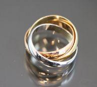 Cartier-Trinity-Ring, 750 Gold5,9 Gramm Ringgröße: 46Original Box u. Papiere.Schätzpreis: 950,-
