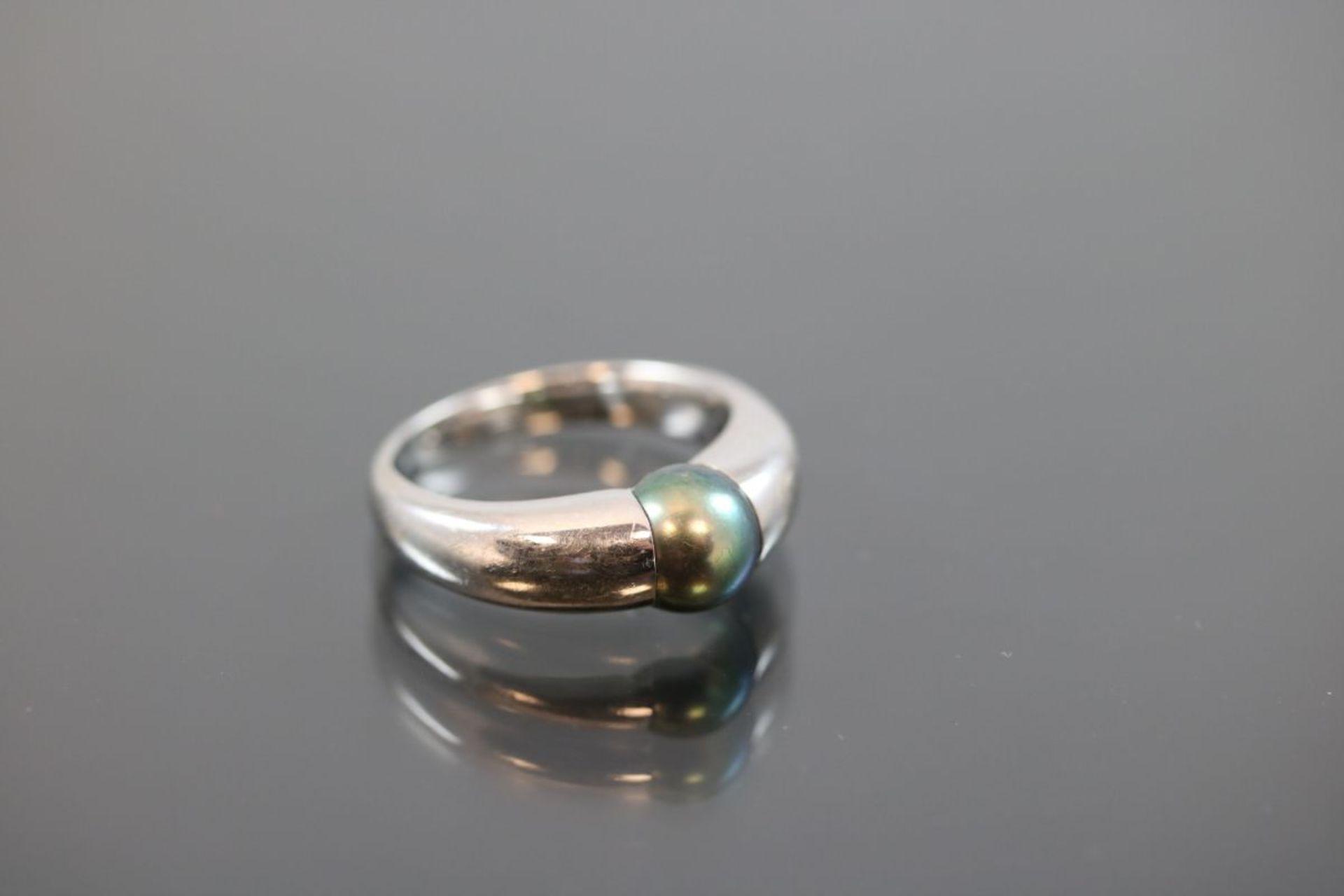 Tahiti-Perlen-Ring, 750 Weißgold7,1 Gramm 1 Tahitiperle, Ringgröße: 51Schätzpreis: 1600,- - Bild 3 aus 3