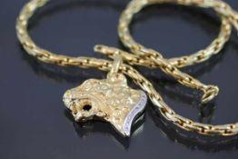 Halskette mit Leopardenkopf, 585 Gelbgold27,7 Gramm 9 Diamanten, ges. 0,09 ct. ct., w/si. Länge: