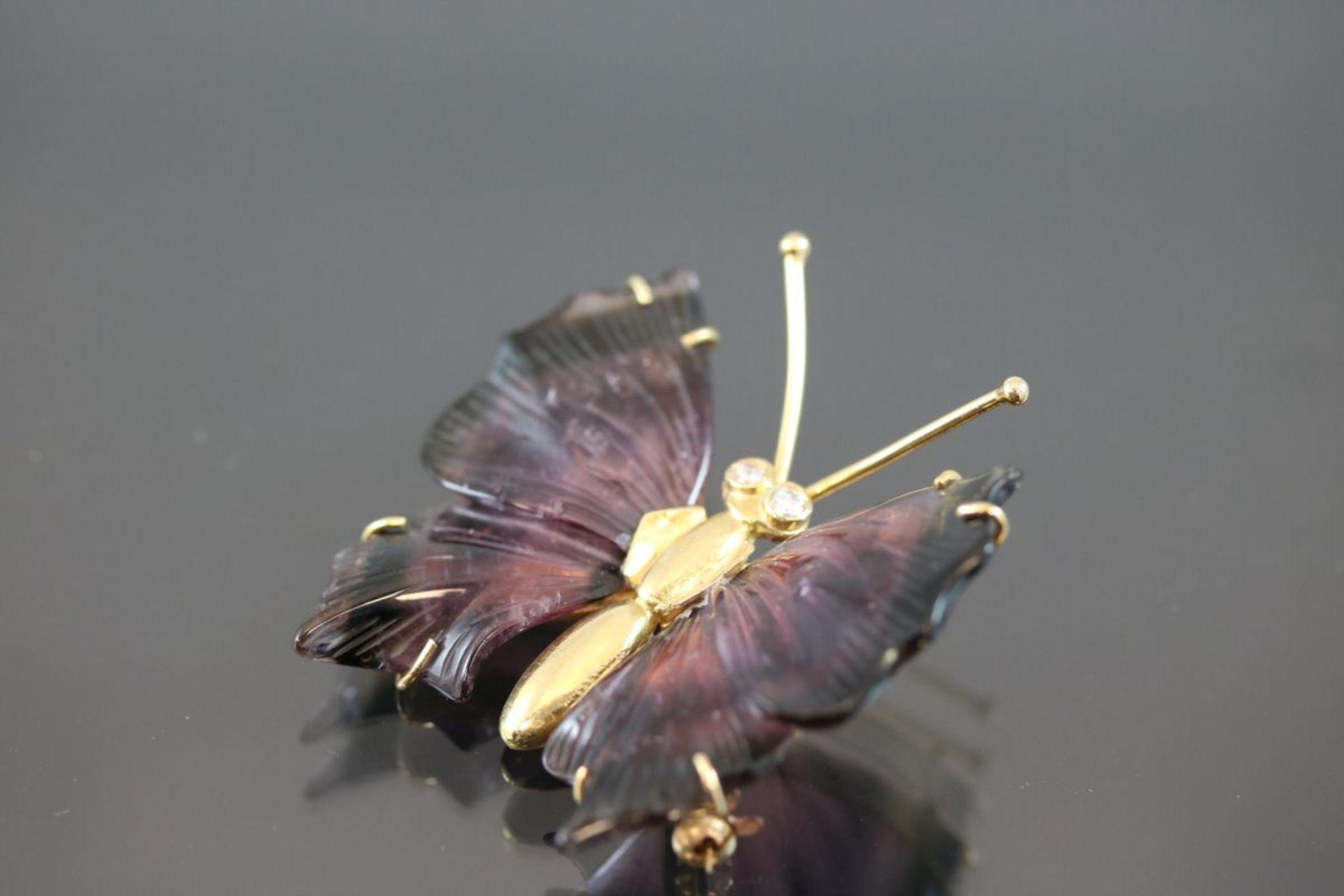 Brillant-Schmetterling-Brosche, 750 Gelbgold13,8 Gramm 2 Brillanten, 0,08 ct., tw/vvsi. Flügel - Bild 2 aus 3