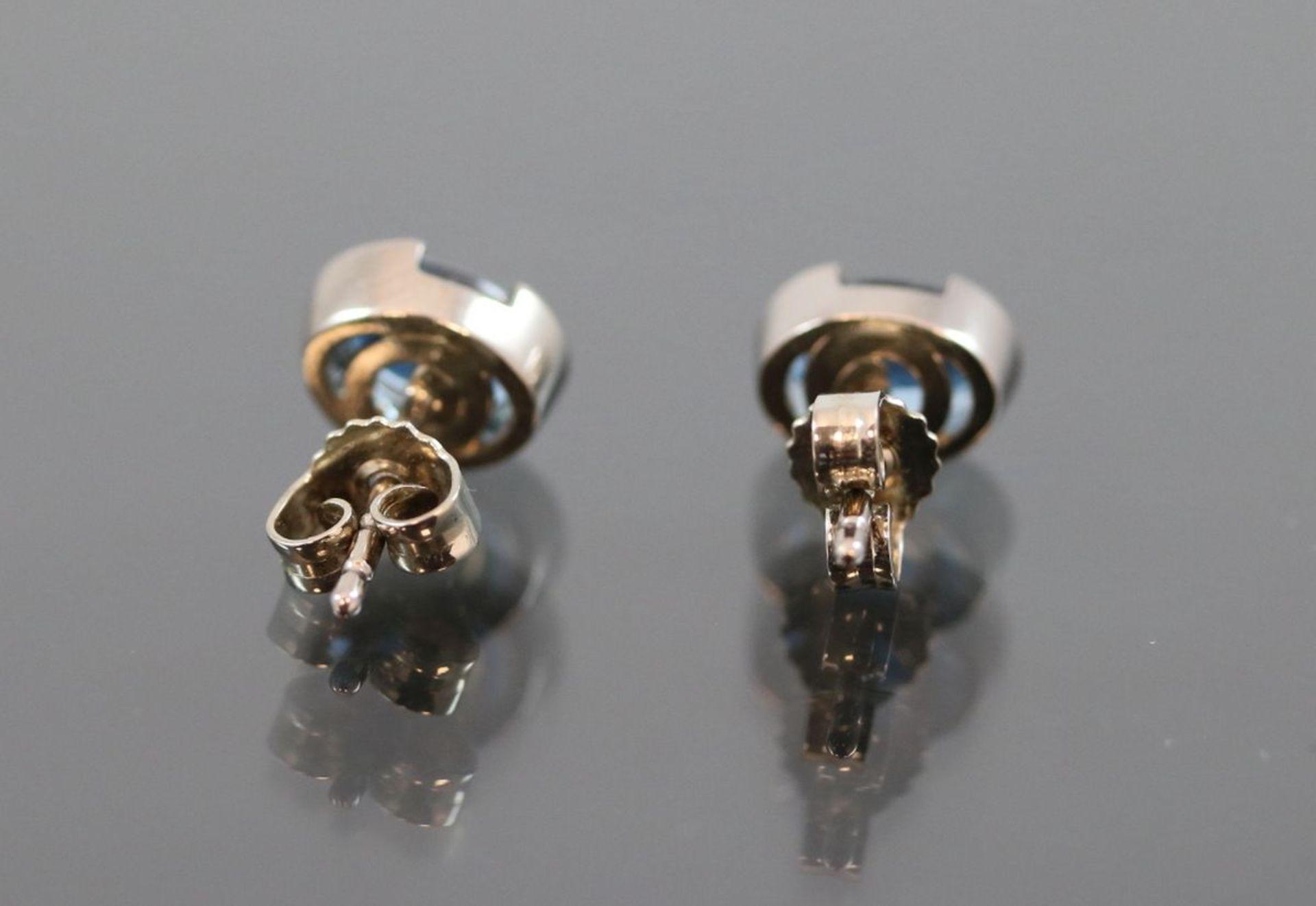 Aquamarin-Ohrringe, 585 Weißgold2,70 Gramm 2 Aquamarine, 0.40 ct., Schätzpreis: 800,- - Bild 3 aus 3