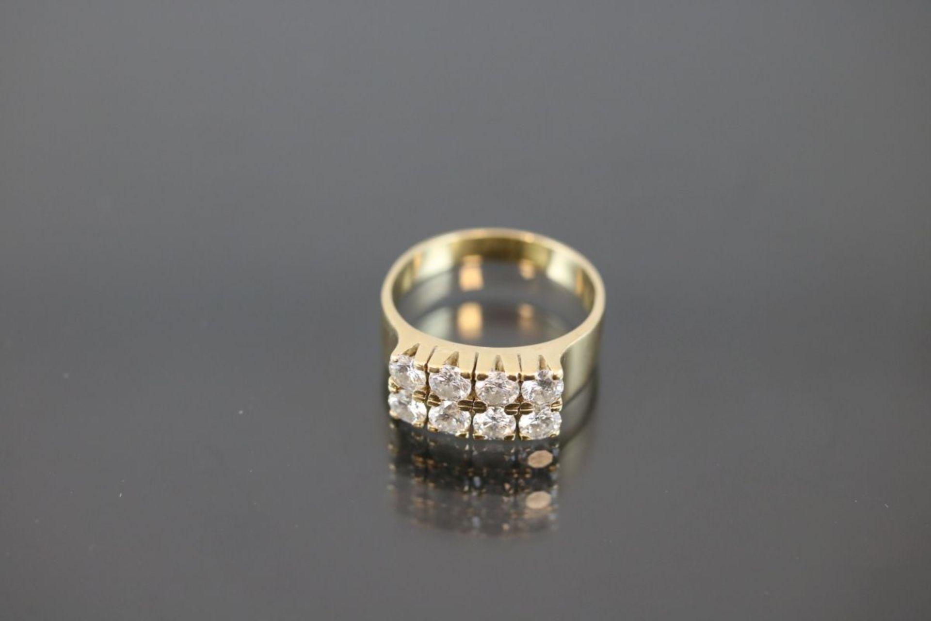 Brillant-Ring, 750 Gold6,17 Gramm 8 Brillanten, ca. 1,76 ct., tw/si. Ringgröße: 56Schätzpreis: - Bild 2 aus 3
