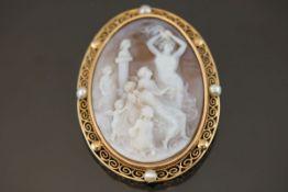 Gemmen-Perl-Brosche, 585 Gelbgold25 Gramm Breite: 5 cm, Länge: 6,5 cm