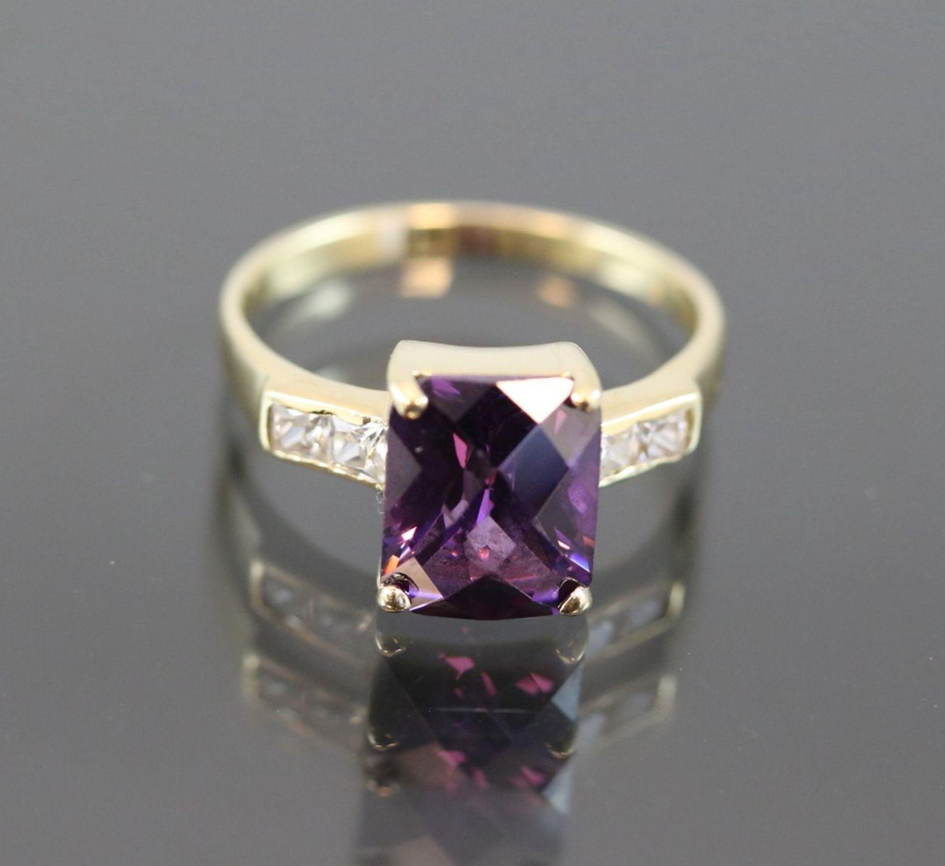 Amethyst-Ring, 585 Gold4,4 Gramm Ringgröße: 56Schätzpreis: 800,- - Bild 2 aus 3