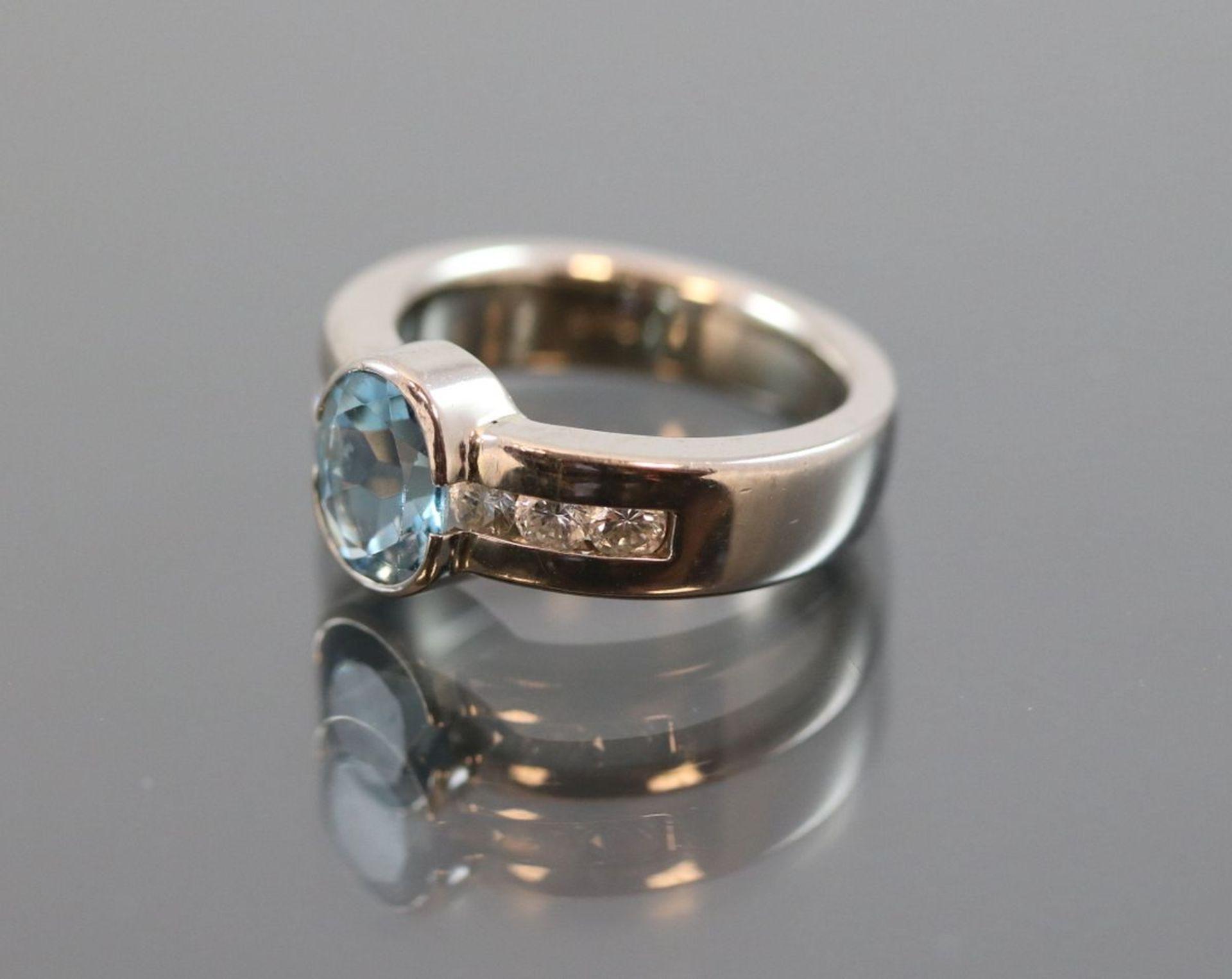 Aquamarin-Brillant-Ring, 585 Weißgold8,50 Gramm 6 Brillanten, 0,42 ct., tw/vsi. Ringgröße: - Bild 2 aus 3
