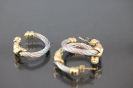 Philippe Charriol Schmuck-Set, Stahl/750 Gold14,6 Gramm Set bestehend aus Ring und Creolen. Mit