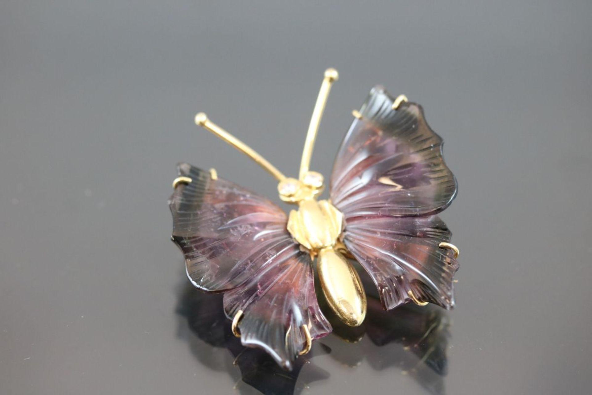Brillant-Schmetterling-Brosche, 750 Gelbgold13,8 Gramm 2 Brillanten, 0,08 ct., tw/vvsi. Flügel
