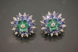 Diamant-Smaragd-Saphir-Ring, 585 Weißgold13,2 Gramm Diamanten, 1,19 ct., w/si. Saphire/Smaragd