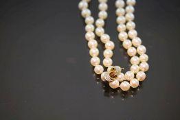 Perlenkette mit Kettenverkürzer, 585 Gold55,3 Gramm 2 Diamanten, Länge: ca. 90 cm Perlenkette endlos