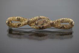 Fahrner-Markasit-Brosche, 925 Silber vergoldet5,6 Gramm Länge: 6,3 cm Original Fahrner- - -25.00 %