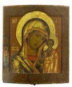 Ikone, Russland, 19. Jh.Gottesmutter von Kasan (Kasanskaja). Tempera auf Holz. 35 x 30,5 cm. Sie