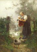 Hasemann, Wilhelm (1850 Mühlberg a. d. Elbe - 1913 Gutach) Am Gartenpförtchen. Ein Bauernmädchen mit