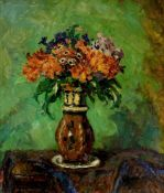 Blanke, Wilhelm (1873 Unruhstadt/Posen - 1936 Schwiebus)Blumen in einer Vase. Öl auf Leinwand. 70,