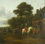 Gael, Barend (1635 Haarlem - 1698 Amsterdam)Reiter vor einem Haus. Öl auf Leinwand, doubliert. 32