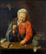 Genremaler des 19. Jh., nach altem Vorbild. Die Goldprüferin oder Geldwechslerin. Öl auf Leinwand,