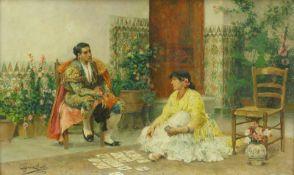 Jiménez Martín, Juan (1855 Adanero - 1901 Madrid)Spanischer Stierkämpfer bei einer Kartenlegerin. Öl