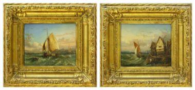 Hoguet, Charles (1821 Berlin - 1870 ebd.) zugeschr.Marine, Gegenstücke. Fischerboote auf bewegter