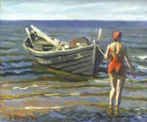 Bine, Jekabs (1895 Riga - 1955 ebd.)Am Ufer stehende Frau bei einem Boot. (19)36. Öl auf Leinwand.
