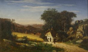 Jansen, Johann Joseph (1829 Aachen - 1905 Düsseldorf)Sommerlandschaft. 1855. Öl auf Leinwand. 64,5 x