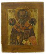 Ikone, Russland, 19. Jh.Der Hl. Nikolaus. Tempera auf Holz. 31 x 27 cm.