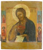 Ikone, Russland, Anfang 19. Jh.Johannes der Täufer. Tempera auf Holz. 36 x 30,7 cm.