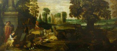 Altmeister, 17. Jh.Weite Landschaft mit Ruinenstaffage und großen Bäumen, im Vordergrund mit