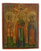 Ikone, Russland, 19. Jh.Die Heiligen Märtyrer Vera, Nicolai und Anna. Tempera auf Holz. 21,2 x 17,