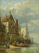Kuwasseg, Charles Euphrasie (1833 Draveil - 1904 Paris)Belebte Ansicht einer Küstenstadt mit am Ufer
