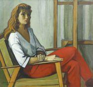 Khorenko, Wladimir (1927 Donezk - 2002 ebd.) Sitzende Frau mit roter Hose. 1974. Öl auf Leinwand. 99