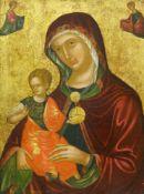 Ikone, Griechenland, veneto-kretischer Stil, um 1600Madre della Consolazione und Begleitfiguren.
