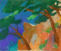 Kriesch, Rudolf (1904 St. Pölten - 1992 München)Felsige Landschaft mit Bäumen. Mischtechnik auf