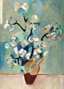 Laabs, Hans (1915 Treptow an der Rega - 2004 Berlin)Blühende Zweige in einer Vase. Mischtechnik