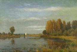 Bennewitz von Loefen, Karl d. Ä. (1826 Thorn - 1895 Eutin)Weite Sommerlandschaft mit Fluß. Öl auf