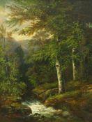 Flickel, Paul (1852 Berlin - 1903 Nervi)Waldlandschaft. Öl auf Leinwand. 55 x 42,5 cm. Links unten