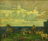 Albitz, Richard (1876 Berlin - 1954 ebd.) Hirte mit Ziegen in weiter Landschaft. Öl auf Leinwand.