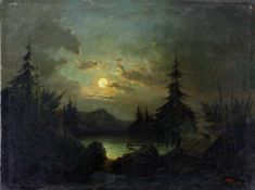 Blume, R. (Landschaftsmaler des 19. Jh.)Mondscheinlandschaft. 1858. Öl auf Leinwand. 33,8 x 45,7 cm.
